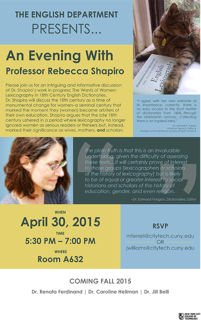 The English Department Presents: An Evening With Dr. Shapiro 1