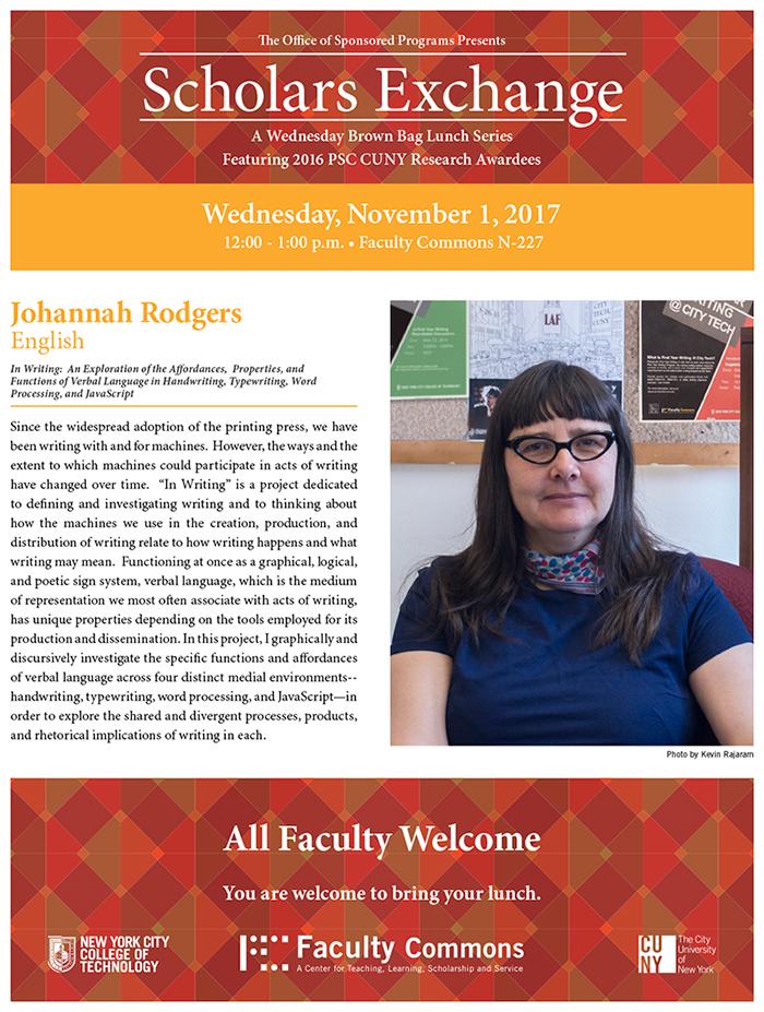 Scholars Exchange features Johanna Rodgers