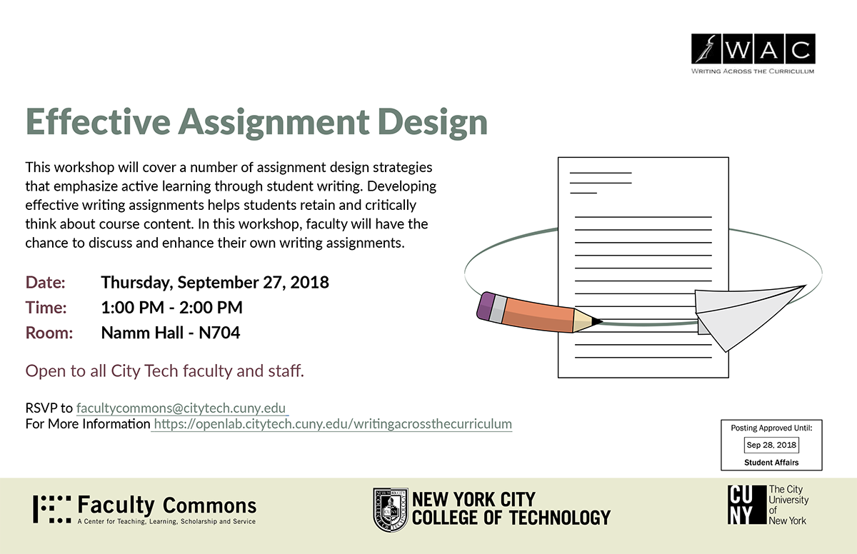 WAC-Effective Assignment Design-Fall 2018