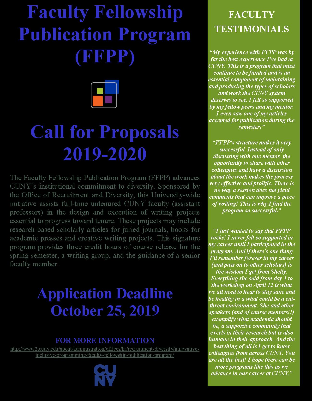 Faculty Fellowship Publication Program (FFPP) 1